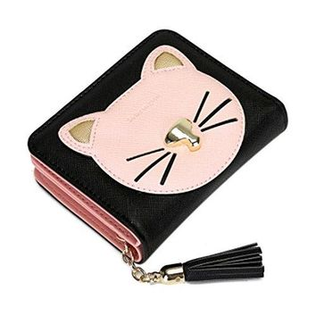 Womens Mini Cute Cat Kitty Wallet PU Leather Card Holders Coin Purse Clutch Ladies Handbags
