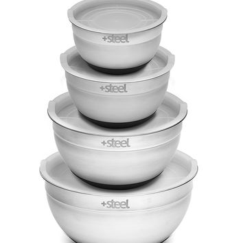 +Steel Stainless Steel Non-Slip Mixing Bowl Set of 4 with Lids and Whisk