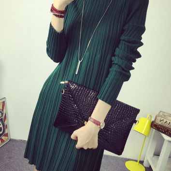 Long Sleeves Funnel Collar A-Line Pleated Mini Knit Sweater Dress