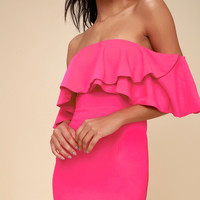 Aurelia Hot Pink Off-the-Shoulder Bodycon Midi Dress