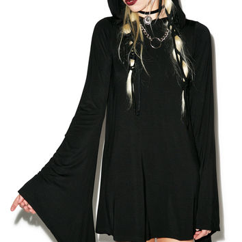 Kill Star Witch Hood Flare Dress Black