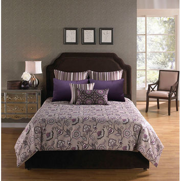 Hallmart Collectibles 67165 Bloomfield Park Plum Six Piece King Comforter with Filler Set - (In No Image Available)