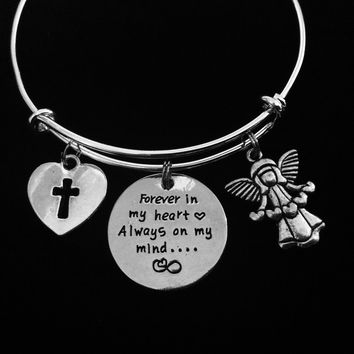 Forever In My Heart Always on My Mind Adjustable Bracelet Expandable Silver Charm Bracelet Bangle Memorial Gift Loss Loved One Remembrance Cross Guardian Angel