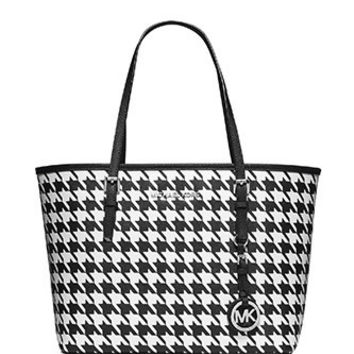 Michael Michael Kors Houndstooth Jet Set Small Travel Tote