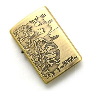 Zippo Lighter Howl's Moving Castle NZ-13 Gold Studio Ghibli From Japan New