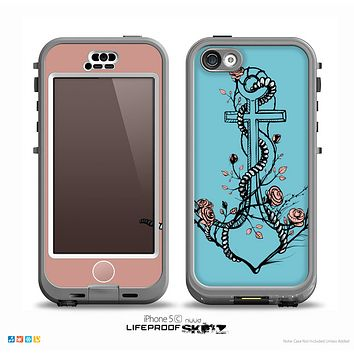 The Blue Pastel Anchor with Roses Skin for the iPhone 5c nüüd LifeProof Case