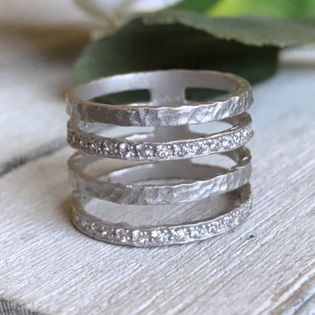 Skye Hammered Cage Ring