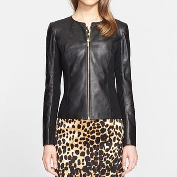 Women's St. John Collection Front Zip Leather Jacket ,