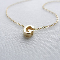 Tiny gold letter necklace - Gold initial necklace - personalized jewelry