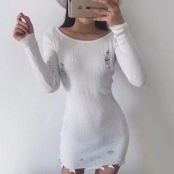 Blogger with the same paragraph autumn and winter women's new hole sweater bag hip Slim long knit dress