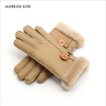 2017 Russian winter leather gloves lady warm gloves leather sheepskin gloves real wool lining A variety of colors