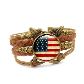 American Flag Fashion Plated Bracelet Statement