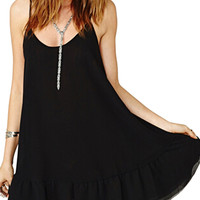 Black Spaghetti Strap Backless Ruffle Hem Chiffon Dress