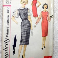 Vintage Pattern McCall's 8981 1950s Rockabilly retro dress full skirt Bust 31 fit and flare VLV tie collar jumper blouse