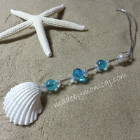 Car Accessory.  Rear View Mirror Charm.  White Ark Shells with Aqua Crystal Beads. Crystal Suncatcher.