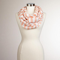 Pale Coral Striped Lurex Infinity Scarf
