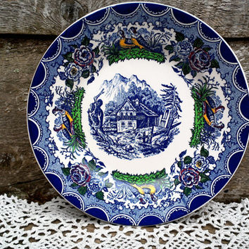 Antique French PV Colbalt Blue Polychrome Transferware Plate, French Farmhouse, Game Birds, Flowers, Side Plates