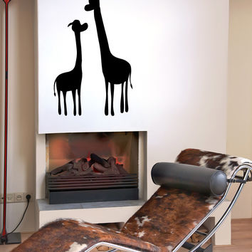 Vinyl Wall Decal Sticker Two Giraffes #OS_MB479