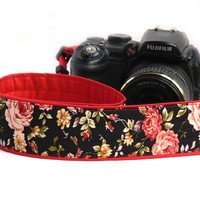 Flowers dSLR Camera Strap. Roses Camera Strap. Women accessories