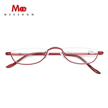 MEESHOW 2pc half Rim Reading Glasses High Quality METAL eyeglasses 1.25,~4.0, with case Gift Packing T0340 reader
