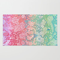 Soft Pastel Rainbow Doodle Rug by Micklyn