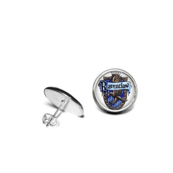 Harry Potter Hogwarts House of Ravenclaw 12mm Stainless Steel Stud Earrings with Hypoallergenic Posts