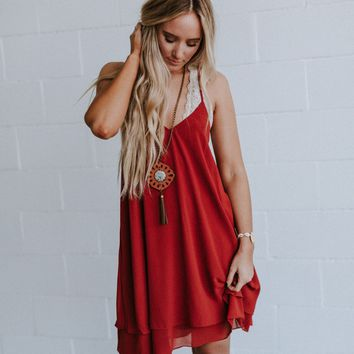 Dream Double Layered V Neck Dress - Red