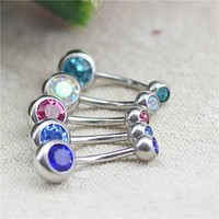 Body Piercing Jewelry Silver Color Bar Ball Eye Belly Button Water Drop Zinc Alloy Navel