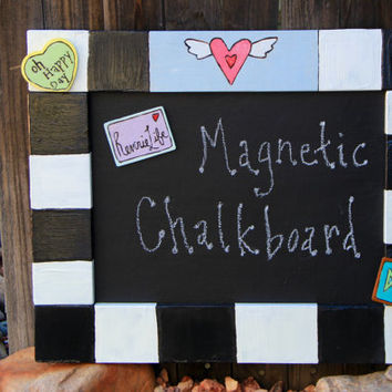 Magnetic Chalkboard, Hand Burned, Hand Painted with Magnetic Frame by ReverieLife