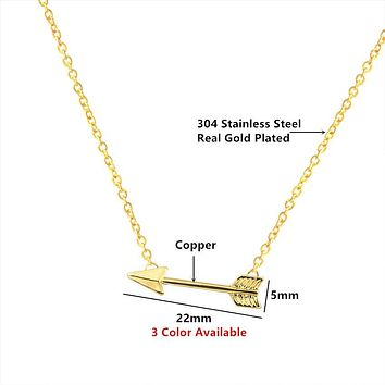 Women's Fashion Jewelry Simple Arrow Necklaces & Pendants Stainless Steel Chain Necklace In Rose Gold Collares Mujer Bijoux Bff