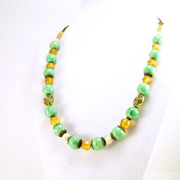 Green Gemstone and Amber Necklace, Handmade Gemstone Jewelry