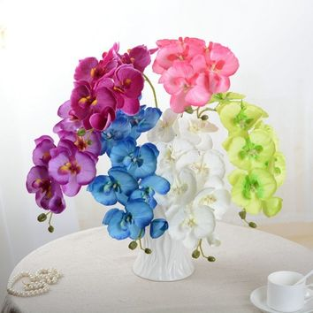 Orchid artificial flowers DIY Artificial Butterfly Orchid Flower Bouquet Phalaenopsis Wedding Home Decoration Flowers Flores Orq