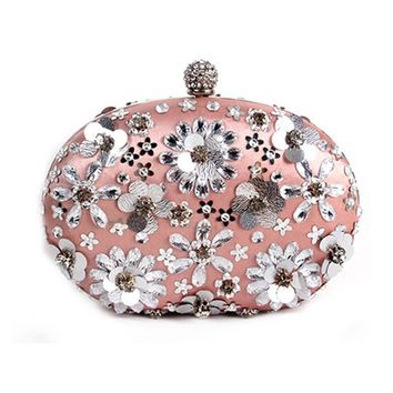 Hot 2017 Evening Bag Flower Bride Bag Purse Beading Diamond  Flower Crystal Evening Bag Clutch Bags Lady Wedding Purse
