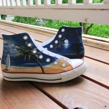 Custom Painted Beach Surfboard Converse