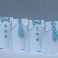 12 Little Man Blue Polka Dots Bow Tie-Tie Favor Bag-Baby Shower Favor