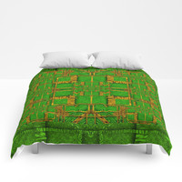 golden green and  sunshine pop-art Comforters by Pepita Selles