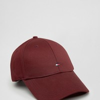 Tommy Hilfiger Logo Baseball Cap In Burgundy at asos.com
