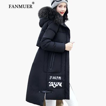 Fanmuer 2017 Winter jacket women fur winter coat hooded womens clothing jackets long woman cotton parka jaqueta feminina invern