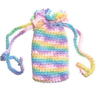 Small Pastel Rainbow Pouch - Cell Phone or Camera Case