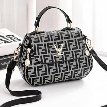 FENDI Fashionable Women Handbag Tote Shoulder Bag Mini Crossbody Satchel Grey