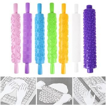 1PC ABS Plastic Rolling Pin Daisy Different Patterns Baking Tools for Cake Decoration Fondant Embossed Mold Craft