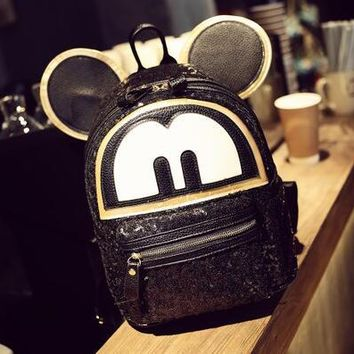 University College Backpack Sequins Mickey big ears Women  High quality PU leather Girl Cute cartoon  wind school bag Travel Books RucksackAT_63_4