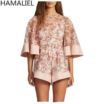 hamaliel luxury Women beach jumpsuit romperfashion Elegant embroidery lace hollow out flare sleeve lady playsuits