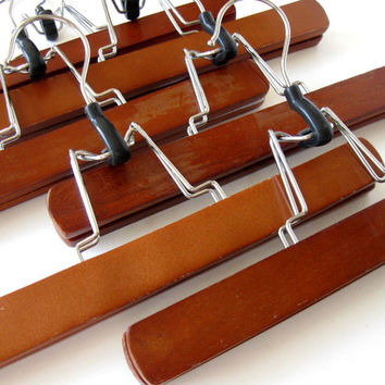 Lot of 6 Vintage wooden Pants Hangers, Mid Century, Clothing Storage, photo prop, gift idea