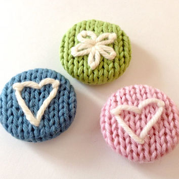 Knit Refrigerator Magnet Set of 3 / Spring Green Pink Blue / Mother's Day Gift