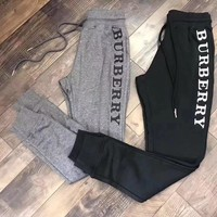burberry letter embroidery casual trousers pants