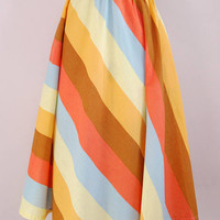 Vintage 1950s Pastel rainbow stripe print cotton circle skirt - 50s full skirt - 50s day skirt - 50s High waist swing skirt  - 1950s 50s S