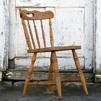 Antique Wooden Saloon Chair/ Minimal/ Circa 1800s Victorian Early American/ Spindle Back/ Distressed Aged/ Kitchen Dining Table