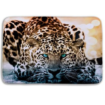 3D Bath rugs Cartoon animal Snow Leopard toilet mats microfiber memory foam bath mat Anti slip kitchen bathroom rugs