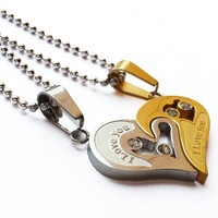 Christmas Gift,Fashion Accessories, Engraved Hearts Titanium Steel Puzzles Necklace, Customized Couples Necklace